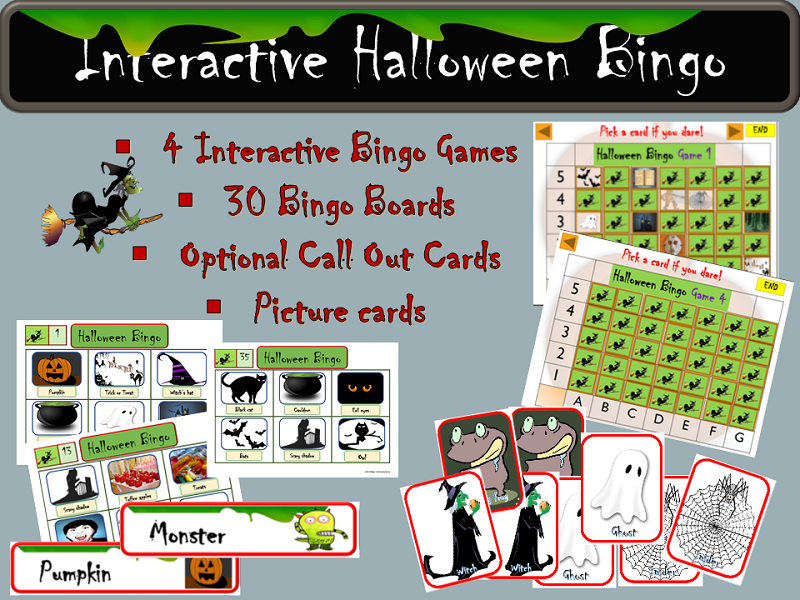 Halloween Games: Interactive Bingo PowerPoint, Bingo Boards, Optional Call out Cards, Picture Cards