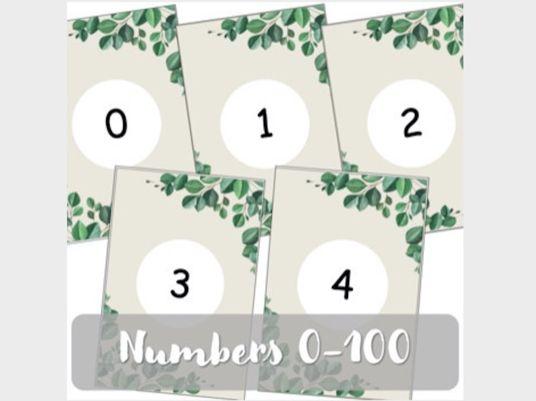 Gum Leaf Number Cards (0-100)