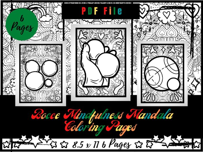 Bocce Mindfulness Mandala Colouring Pages, Sports Colouring Printable Sheets PDF