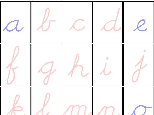 Pink & Blue Movable Alphabet Cursive