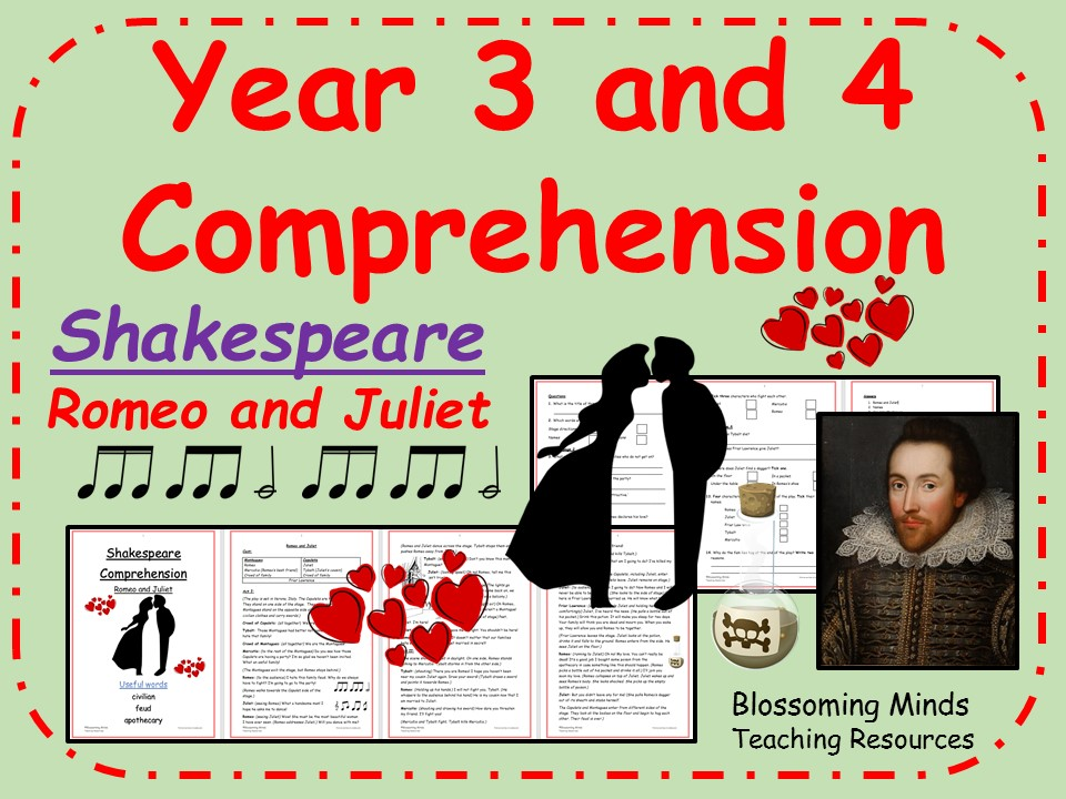 Romeo and Juliet - Year 3 and 4 Reading Comprehension (Shakespeare Week)