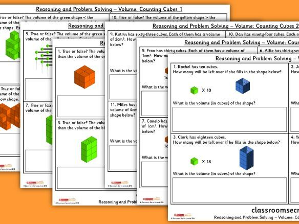 Year 6 Volume Counting Cubes Spring Block 5 Reasoning and Problem Solving Pack