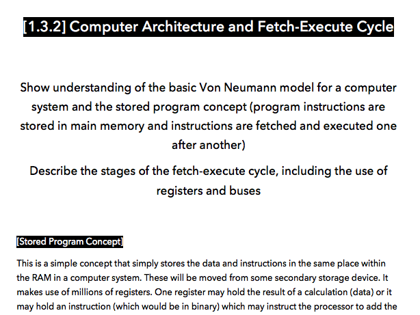 [CIE IGCSE] [1.3.2] Computer Architecture and the Fetch-Execute Cycle