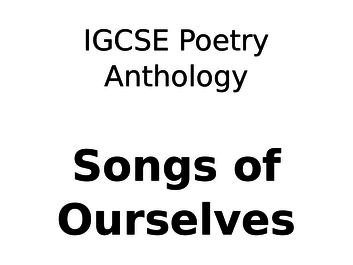 CIE Poetry Anthology - Songs of Ourselves, Podcasts for Annotations