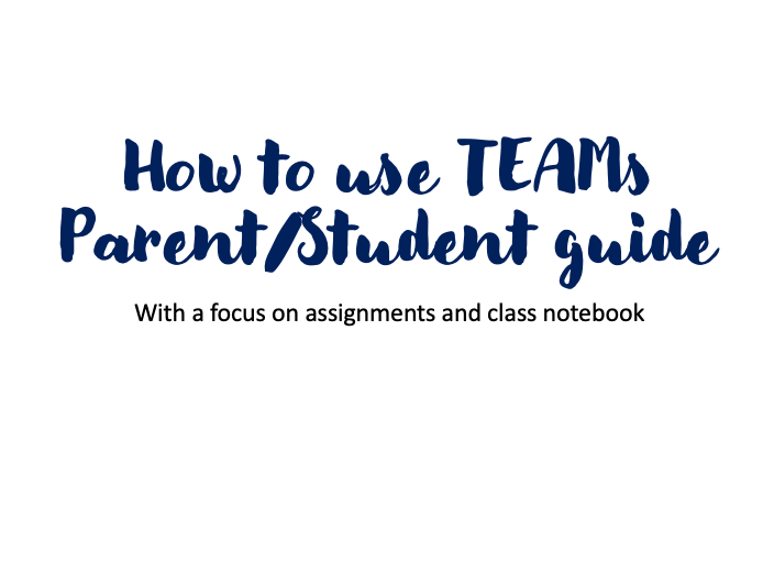Parent/Student Guide to Teams