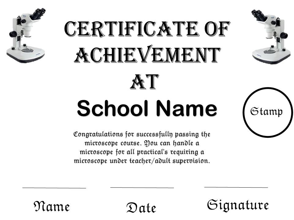 Microscope Certificate Science KS2-KS5