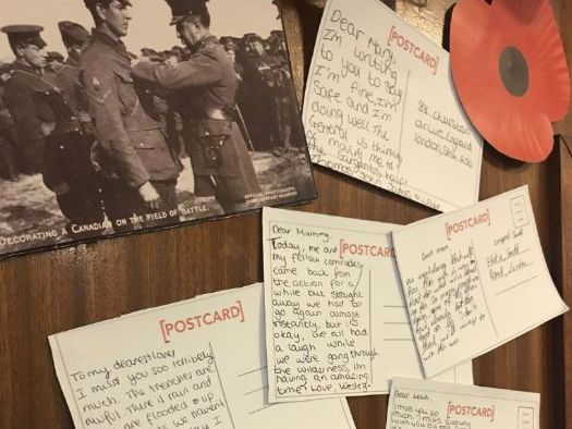 English - KS3 - Remembrance War Poetry Lesson & Display - Bayonet Charge & Exposure