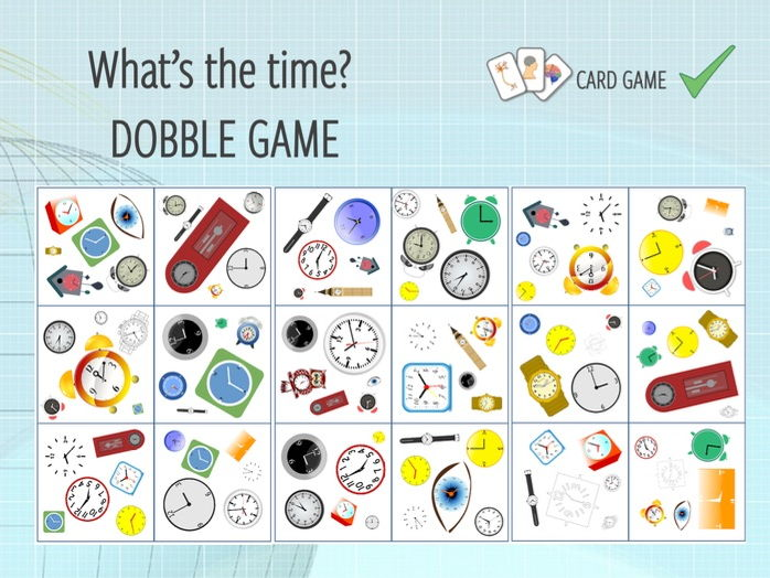 Telling the time - DOBBLE game