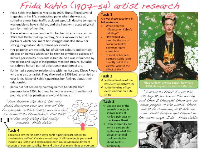 Worksheets Frida Kahlo Worksheets frida kahlo artist research and analysis worksheet by amimamim teaching resources tes