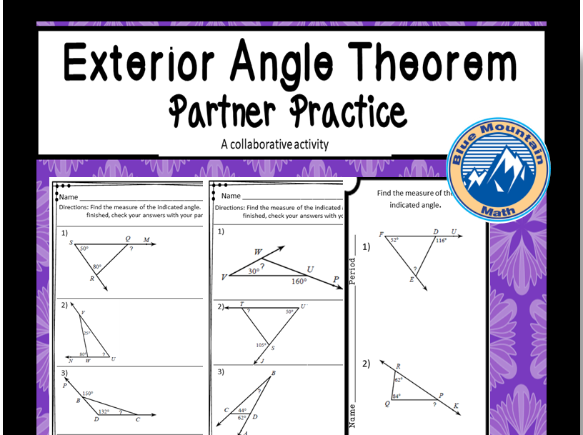 Exterior Angle Theorem Partner Practice