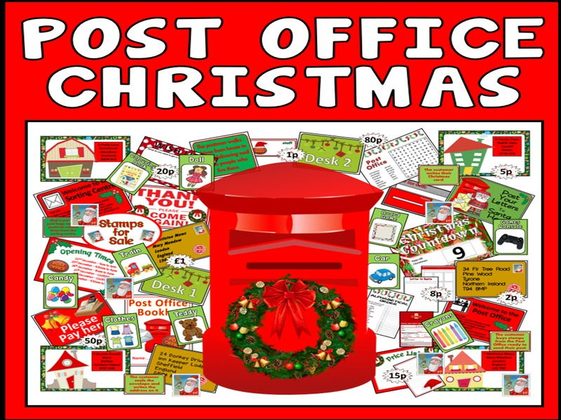 CHRISTMAS POST OFFICE ROLE PLAY TEACHING RESOURCES EARLY YEARS KEY STAGE 1-2