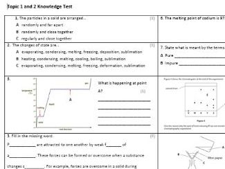 Edexcel CC8 Chemistry Knowledge Assessment