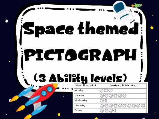 Space themed Pictograph. 3 levels