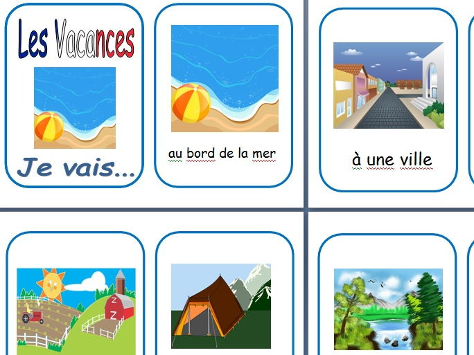 French Holiday Topic Flash Cards and Worksheets KS1/2