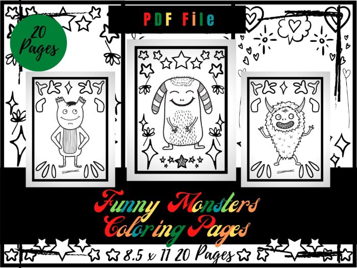 Funny Monsters Coloring Pages For kids, Adorable Monsters Coloring Sheets PDF