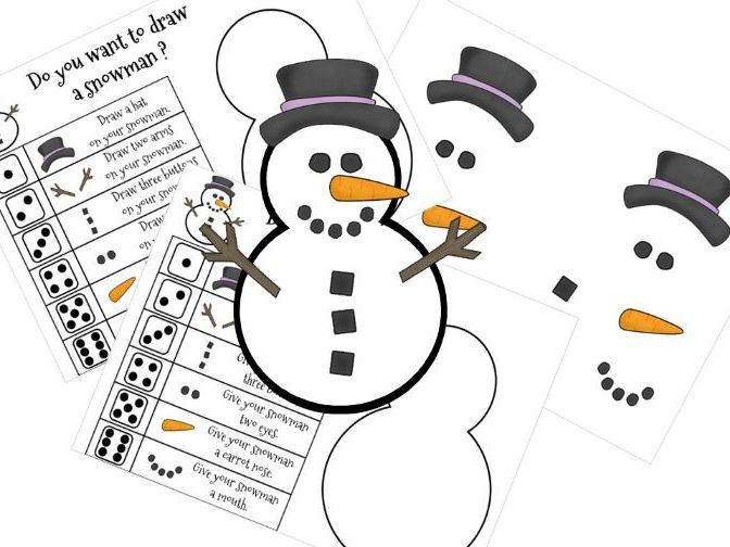 Roll a Snowman Christmas Dice Game - Number Recognition for Early Years