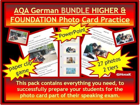 AQA German GCSE Photo Card pack BUNDLE