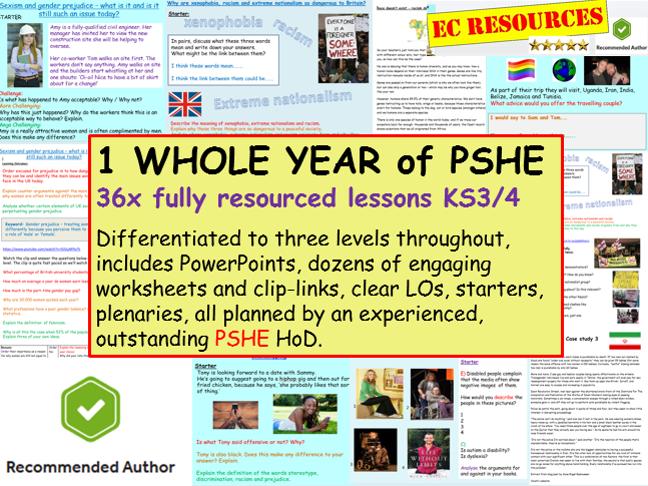 PSHE: PSHE - 1 YEAR'S PSHE