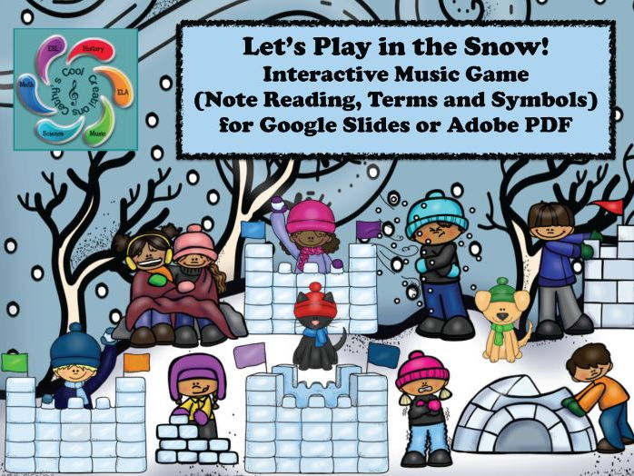 Interactive Music Game-Google Slides /Adobe Reader-Let's Play in the Snow!