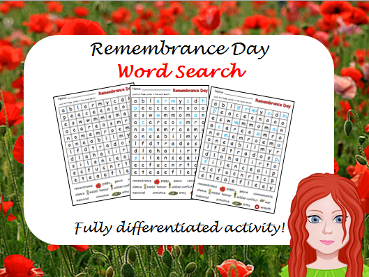 Remembrance Day wordsearch - Differentiated