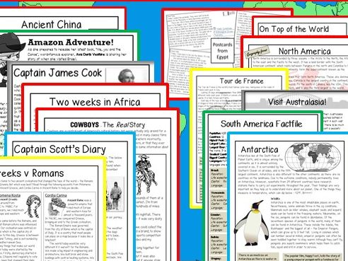 Home Learning: Reading comprehensions - Text comparisons - CONTINENTS