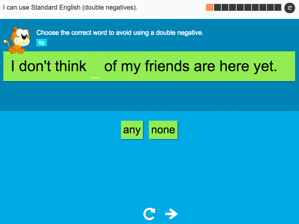 I can use Standard English (double negatives) - Interactive Activity - Year 6 Spag