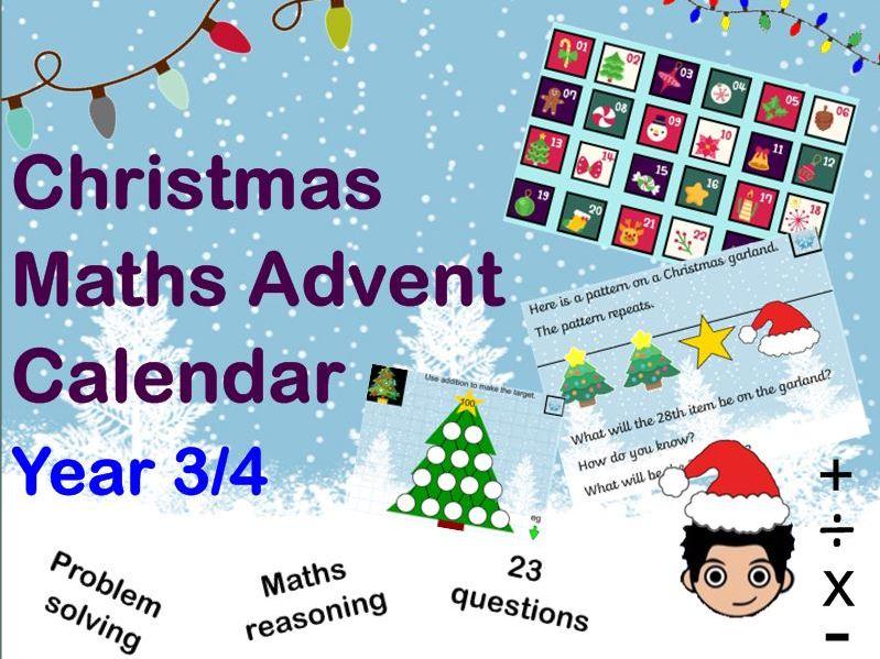 Christmas Mastery Maths Advent Calendar Maths reasoning problem solving  Yr 3/4 KS2
