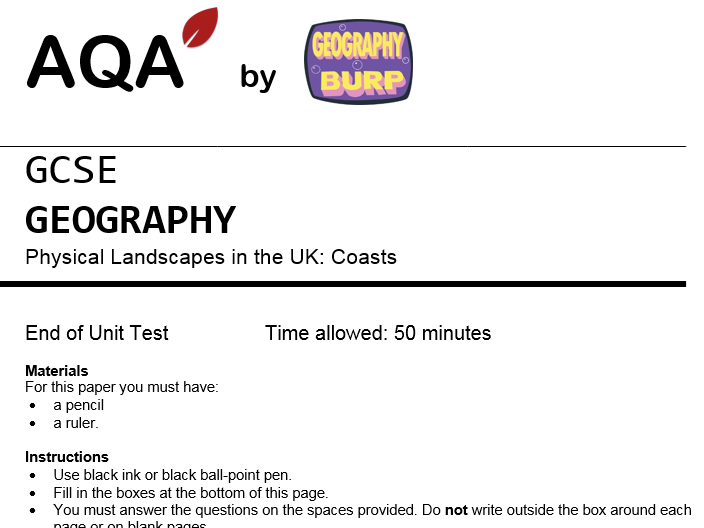 AQA GCSE Geography (9-1) - Practice Exam Paper - Coasts - Coastal Landscapes in the UK