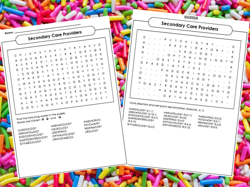 Secondary Care Providers Word Search (BTEC Tech Award in Health and Social Care)