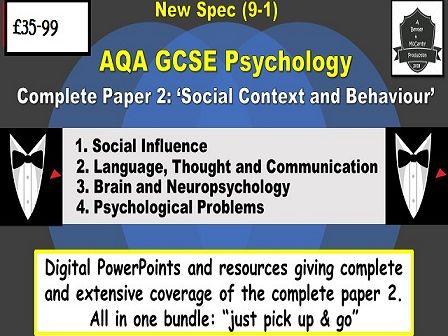 AQA GCSE Psychology, New Spec (9-1) COMPLETE Paper 2