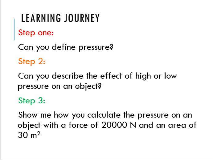KS3 physics - Pressure