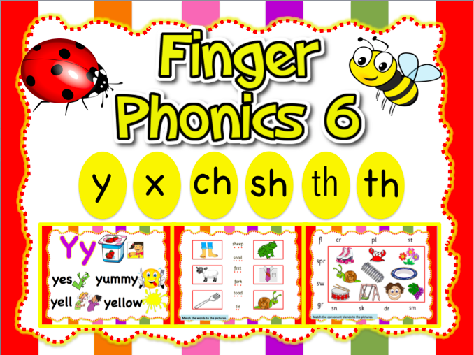 Jolly Phonics 6- y, x, ch, sh, th, th- Animated PPT (23 slides)