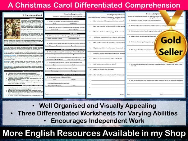 A Christmas Carol Differentiated Reading Comprehension Task