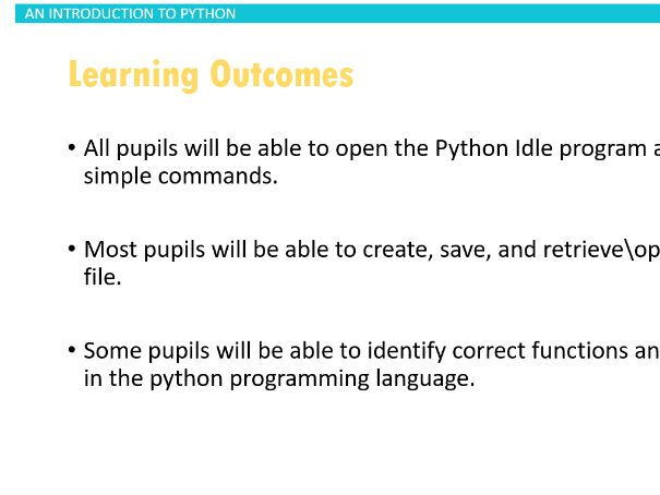 An introduction Lesson to Python for all abilities
