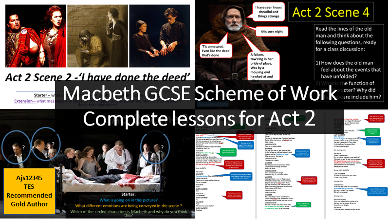Complete scheme of work for Act 2 of Macbeth. Lessons for every scene. GCSE full teaching PowerPoints
