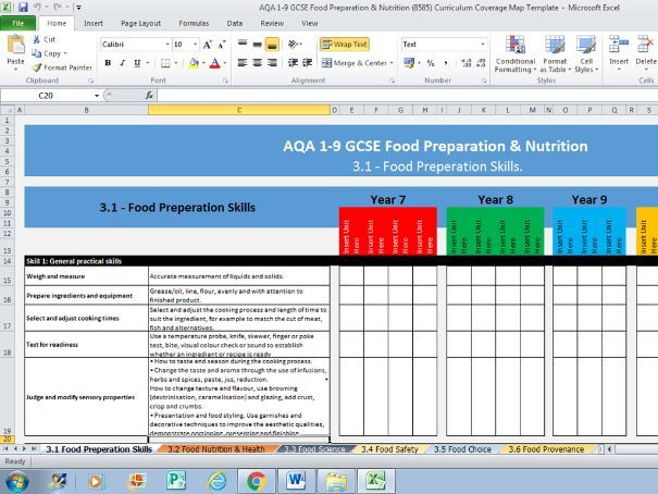 AQA 1-9 GCSE Food Preparation and Nutrition Curriculum Coverage Map Template
