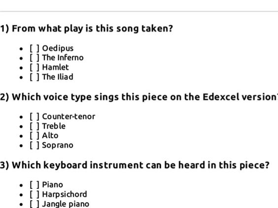 Edexcel GCSE Music: Purcell Music for a While focus work - multiple choice quiz