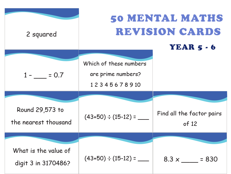 50 Mental Maths Revision Cards year 5 and 6
