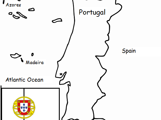 PORTUGAL - Printable handout with map and flag