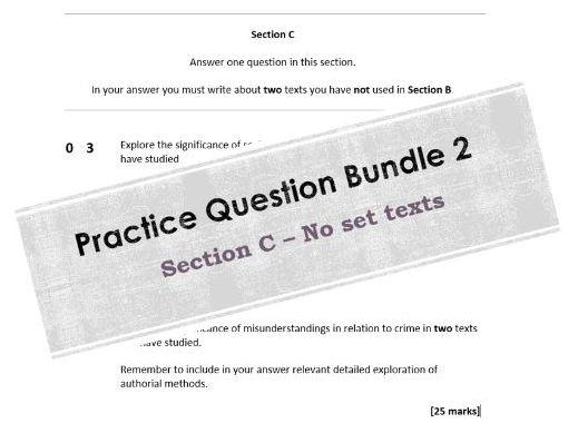AQA (A-Level) English Literature B Practice Question Bundle (Section C) - NO SET TEXTS