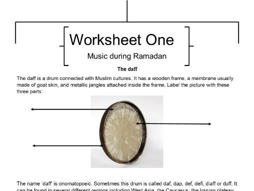 Music lessons during Ramadan - four worksheets