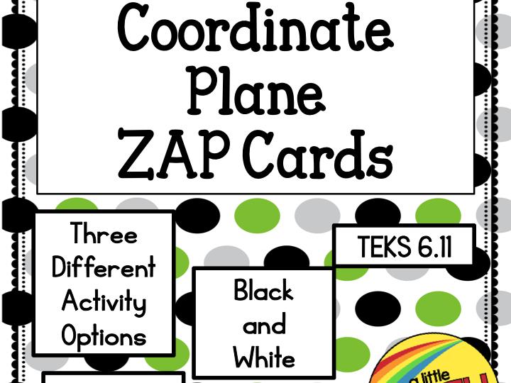 Coordinate Plane ZAP Cards TEKS 6.11