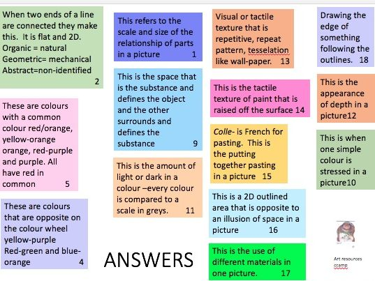 Terms vocabulary lists - choose the correct answer