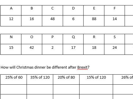 Christmas Codebreaker -percentage of amount