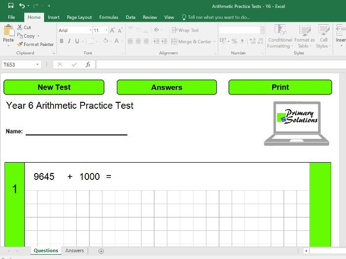 Year 6 Arithmetic Test Generator