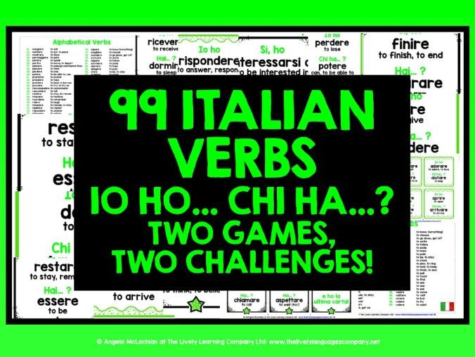 ITALIAN VERBS I HAVE, WHO HAS? 2 GAMES & CHALLENGES