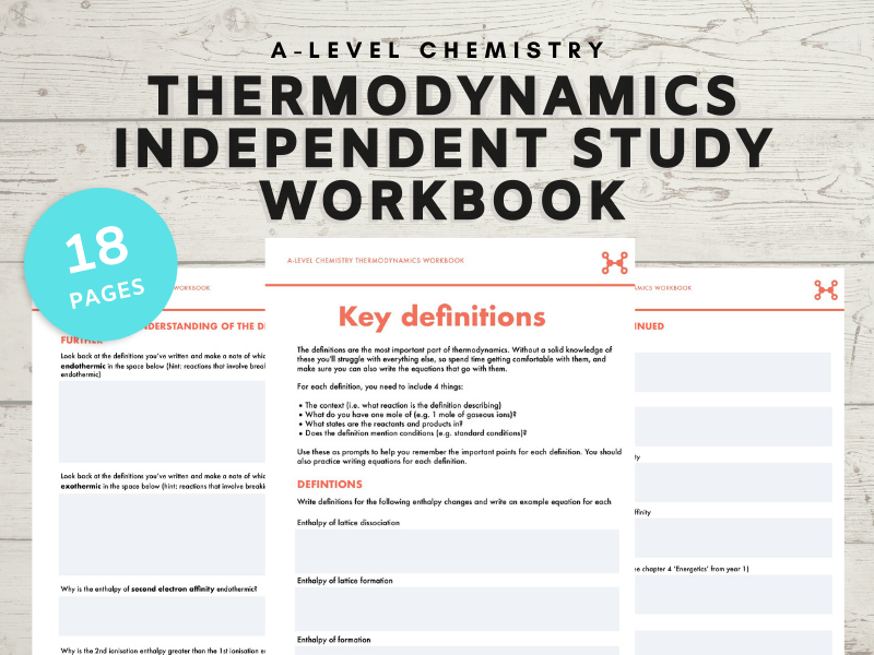 A-level Chemistry Thermodynamics independent study workbook