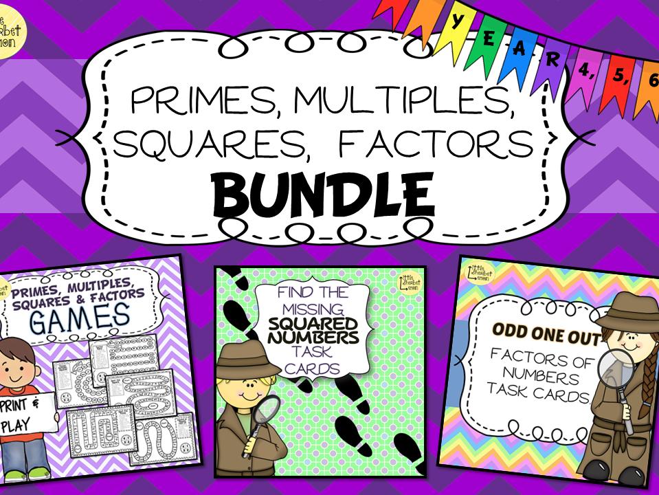 Primes, Multiples, Squares and Factors Bundle
