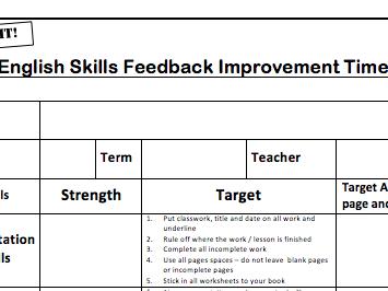 English Skills Feedback Improvement Time Sheet (FIT SHEET)