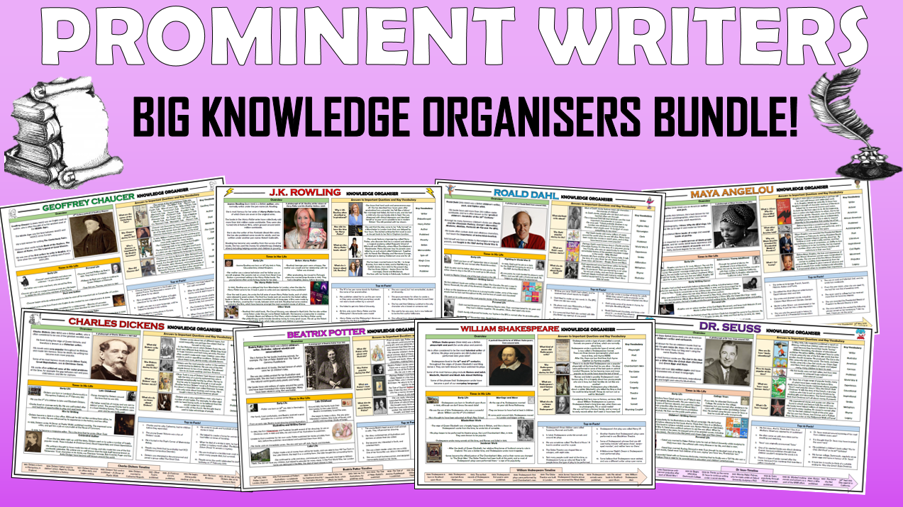 Prominent Writers - Big History Knowledge Organisers Bundle!